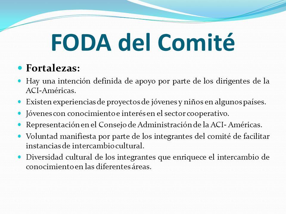 FODA del Comité Fortalezas: Hay una intención definida de apoyo por parte de los dirigentes de la ACI-Américas. Existen experiencias de proyectos de j