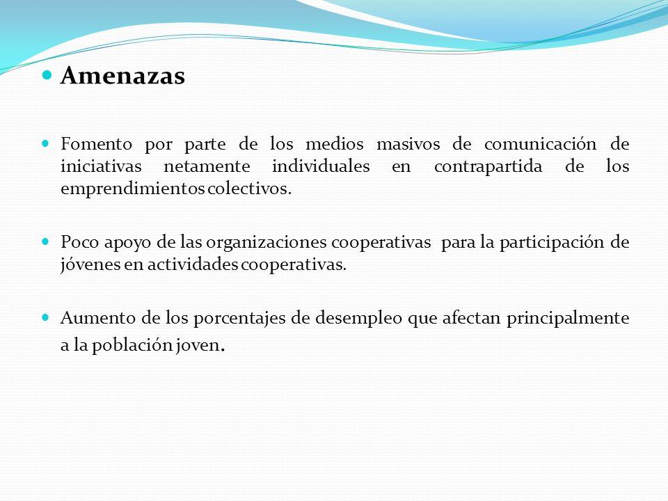 Amenazas Fomento por parte de los medios masivos de comunicación de iniciativas netamente individuales en contrapartida de los emprendimientos colecti