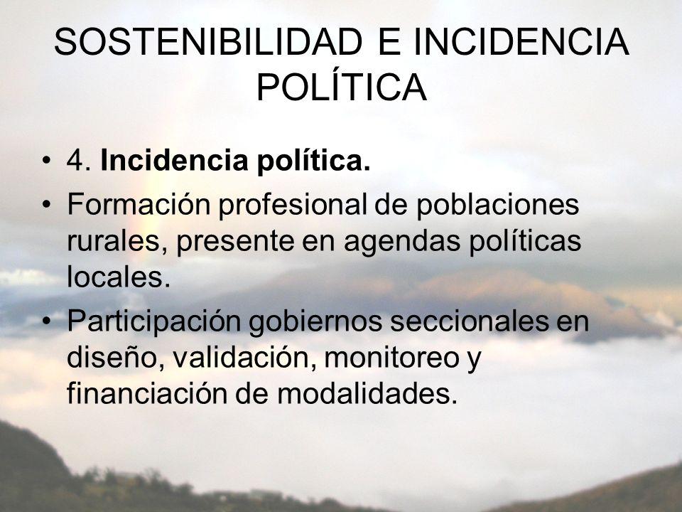 SOSTENIBILIDAD E INCIDENCIA POLÍTICA 4. Incidencia política.