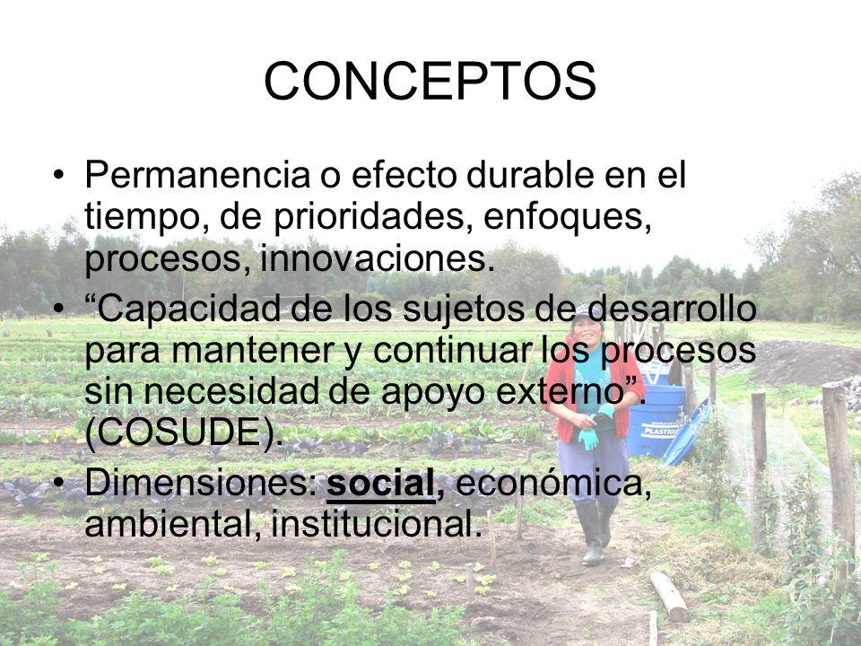 CONCEPTOS Permanencia o efecto durable en el tiempo, de prioridades, enfoques, procesos, innovaciones.