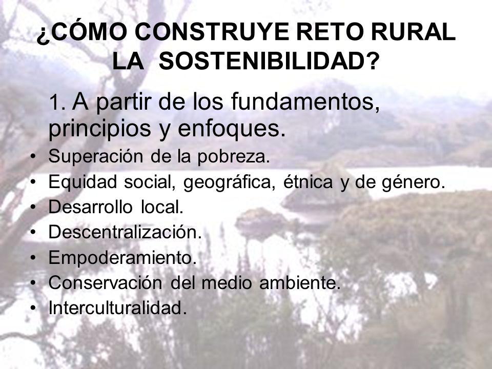 ¿CÓMO CONSTRUYE RETO RURAL LA SOSTENIBILIDAD. 1.