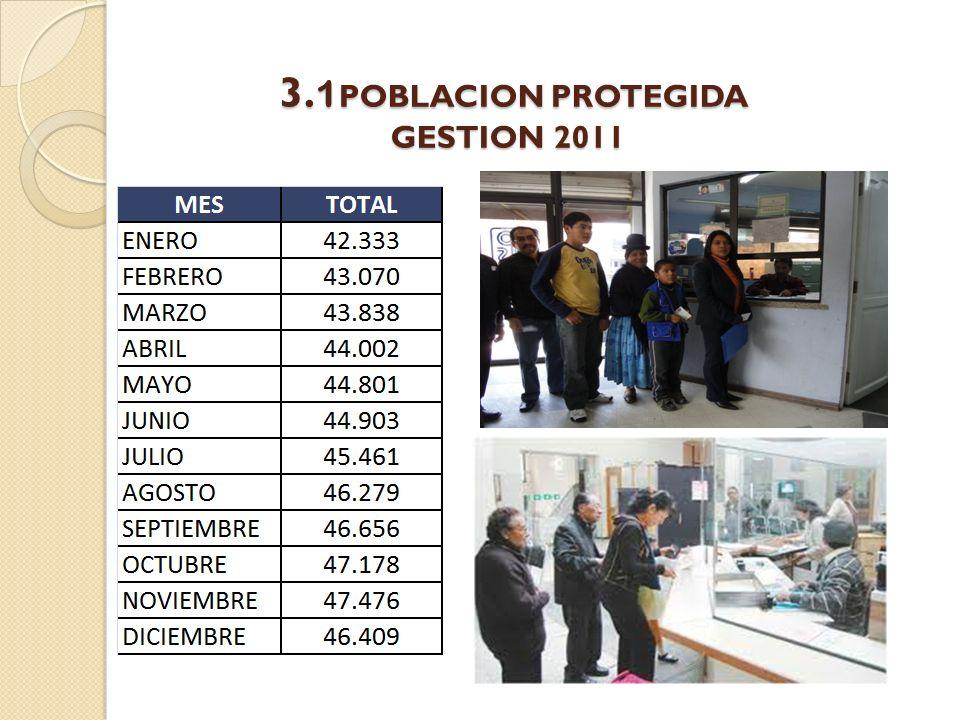 3. 1 POBLACION PROTEGIDA GESTION 2011 3. 1 POBLACION PROTEGIDA GESTION 2011