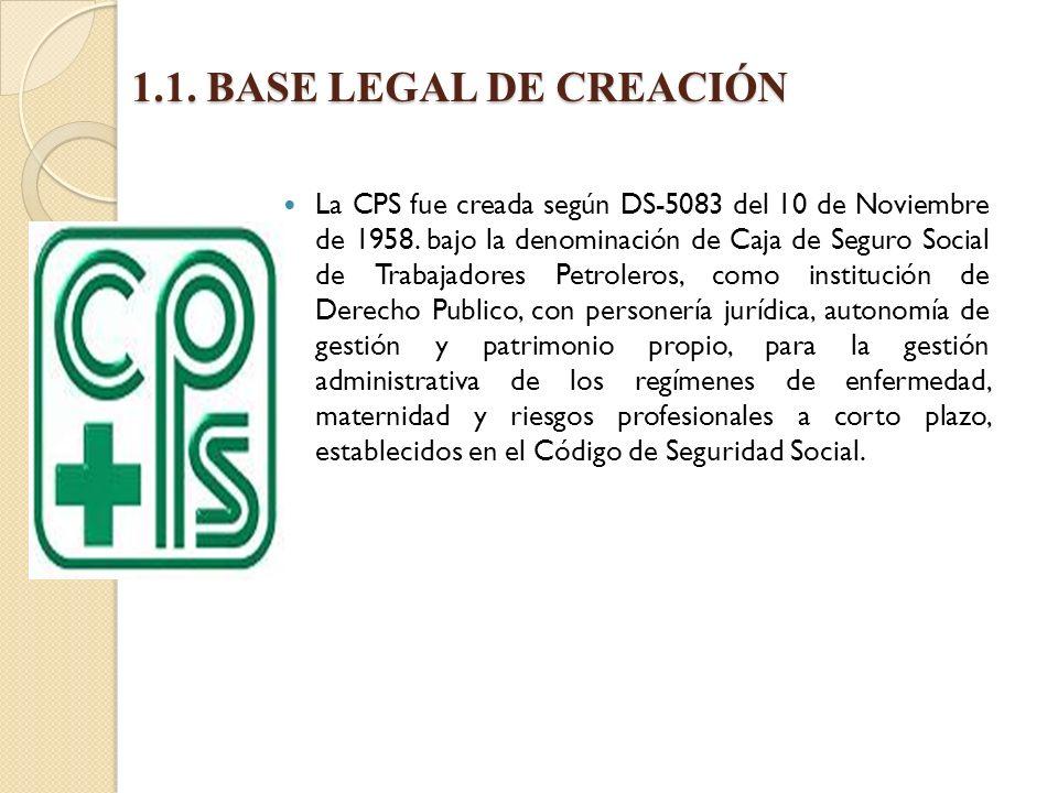 1.1.BASE LEGAL DE CREACIÓN La CPS fue creada según DS-5083 del 10 de Noviembre de 1958.