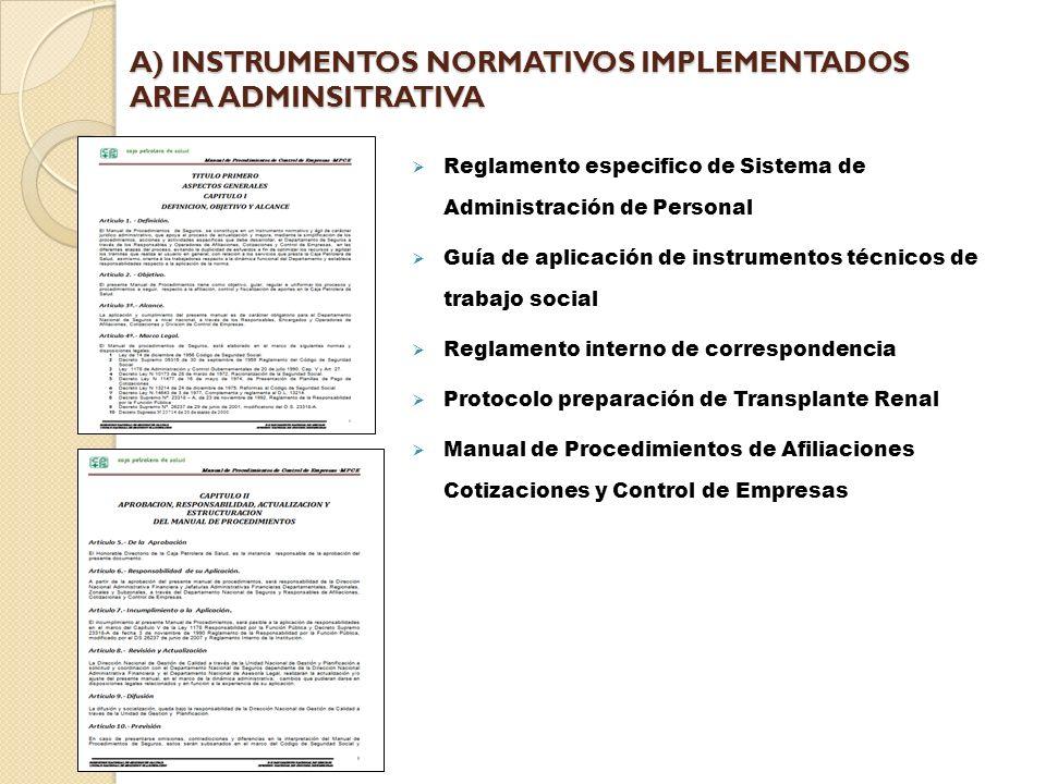 A) INSTRUMENTOS NORMATIVOS IMPLEMENTADOS AREA ADMINSITRATIVA Reglamento especifico de Sistema de Administración de Personal Guía de aplicación de instrumentos técnicos de trabajo social Reglamento interno de correspondencia Protocolo preparación de Transplante Renal Manual de Procedimientos de Afiliaciones Cotizaciones y Control de Empresas