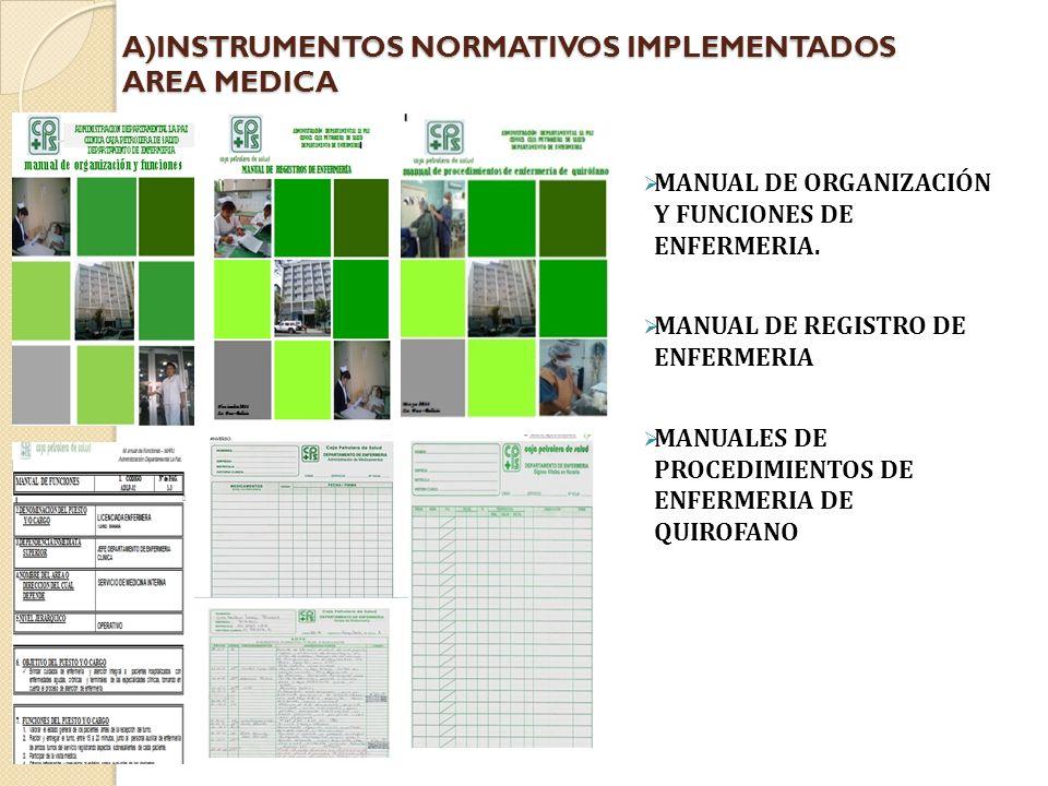A)INSTRUMENTOS NORMATIVOS IMPLEMENTADOS AREA MEDICA MANUAL DE ORGANIZACIÓN Y FUNCIONES DE ENFERMERIA.