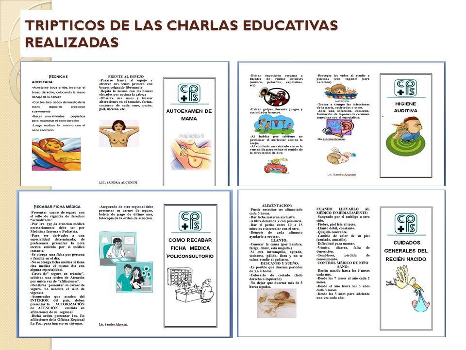 TRIPTICOS DE LAS CHARLAS EDUCATIVAS REALIZADAS