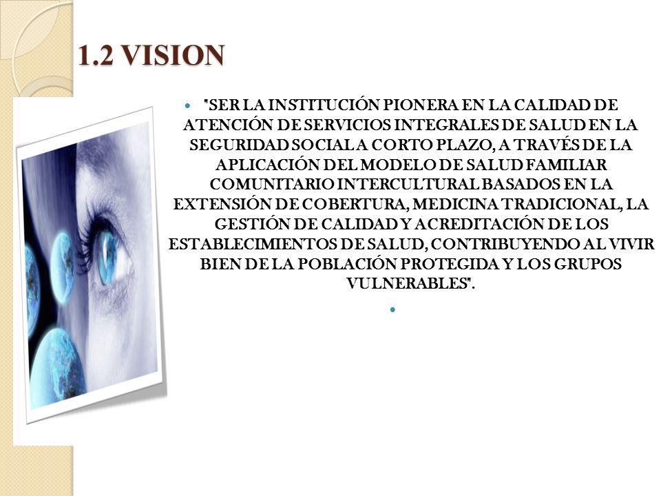 1.2 VISION SER LA INSTITUCIÓN PIONERA EN LA CALIDAD DE ATENCIÓN DE SERVICIOS INTEGRALES DE SALUD EN LA SEGURIDAD SOCIAL A CORTO PLAZO, A TRAVÉS DE LA APLICACIÓN DEL MODELO DE SALUD FAMILIAR COMUNITARIO INTERCULTURAL BASADOS EN LA EXTENSIÓN DE COBERTURA, MEDICINA TRADICIONAL, LA GESTIÓN DE CALIDAD Y ACREDITACIÓN DE LOS ESTABLECIMIENTOS DE SALUD, CONTRIBUYENDO AL VIVIR BIEN DE LA POBLACIÓN PROTEGIDA Y LOS GRUPOS VULNERABLES .