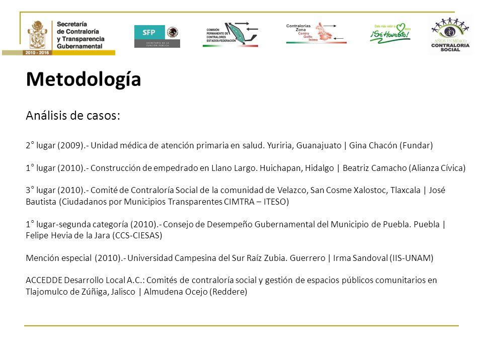 Metodología Análisis de casos: 2° lugar (2009).- Unidad médica de atención primaria en salud.