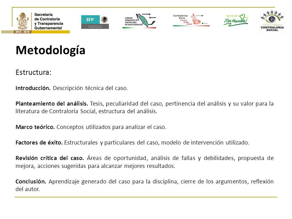 Metodología Estructura: Introducción.Descripción técnica del caso.
