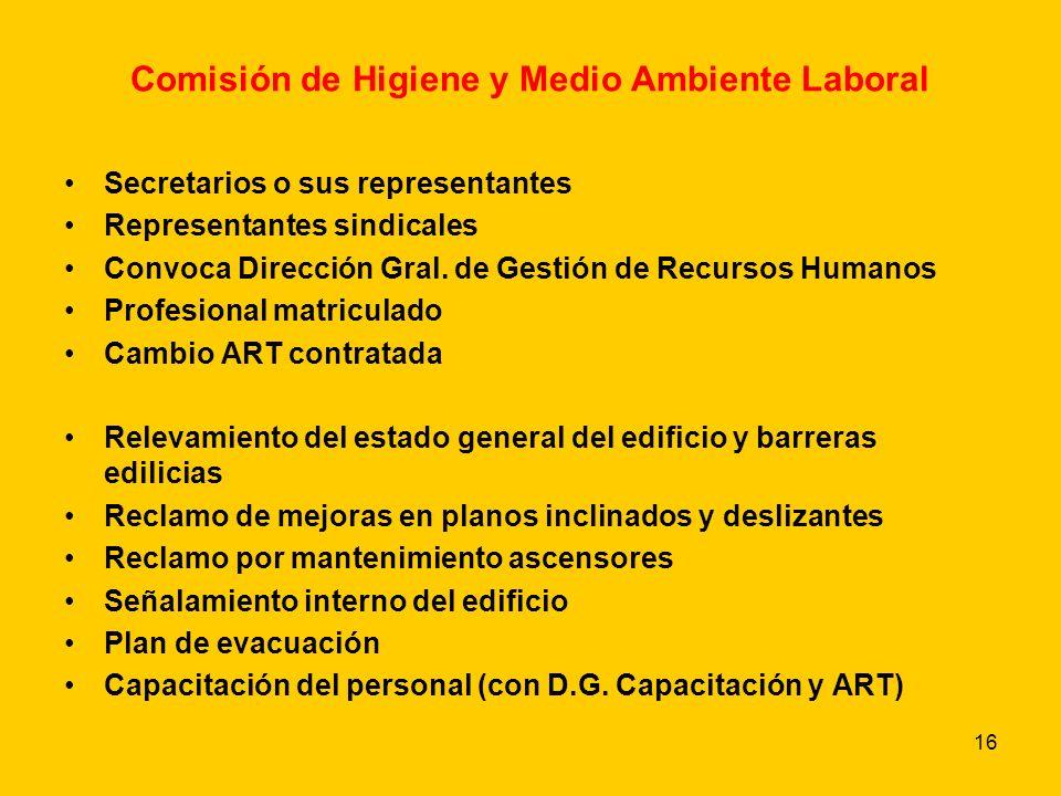 16 Comisión de Higiene y Medio Ambiente Laboral Secretarios o sus representantes Representantes sindicales Convoca Dirección Gral.