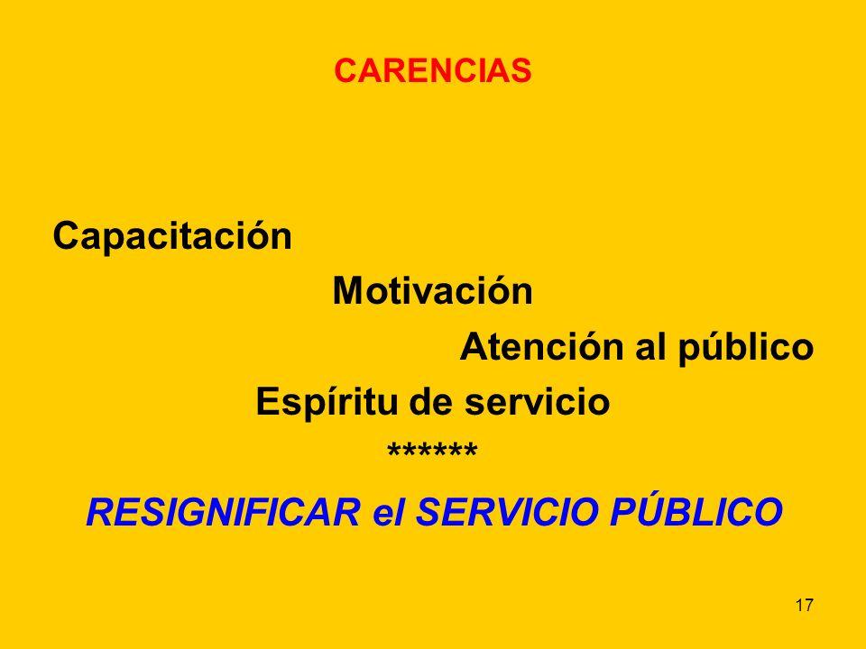 17 CARENCIAS Capacitación Motivación Atención al público Espíritu de servicio ****** RESIGNIFICAR el SERVICIO PÚBLICO
