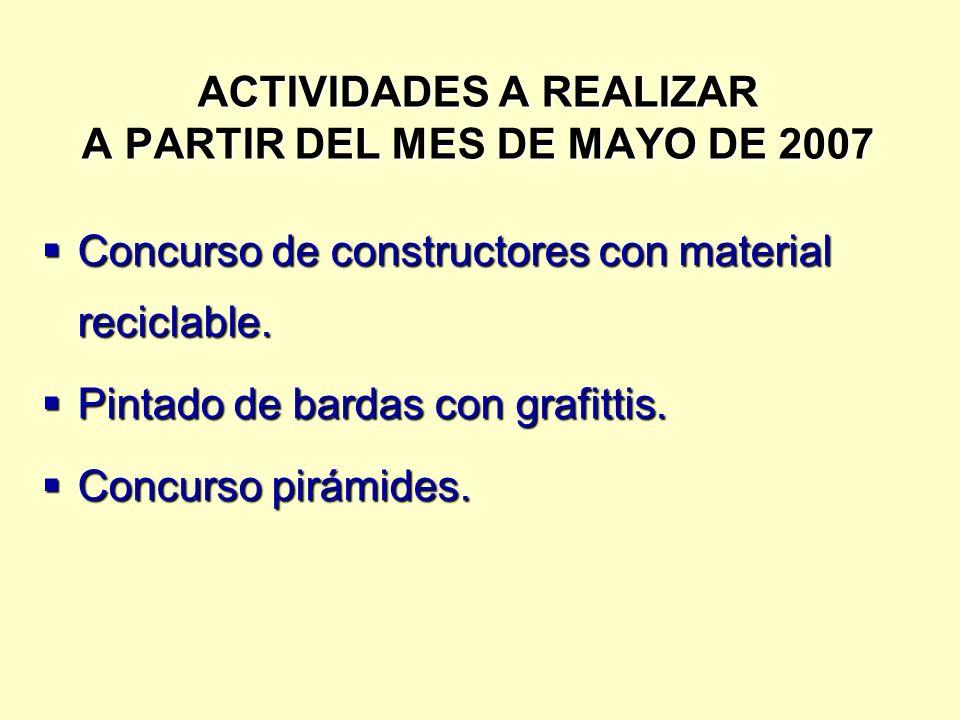 ACTIVIDADES A REALIZAR A PARTIR DEL MES DE MAYO DE 2007 Concurso de constructores con material reciclable.