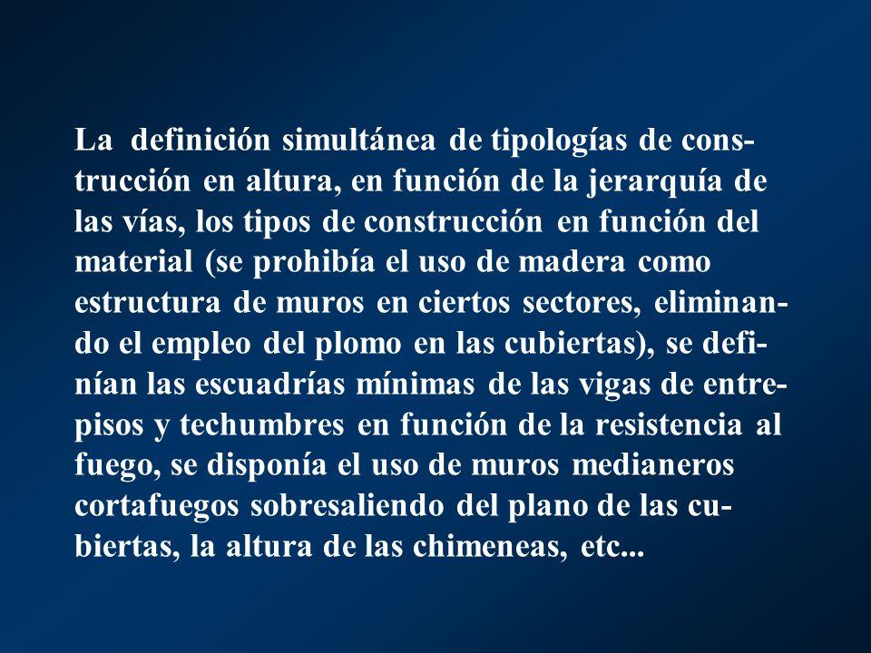La definición simultánea de tipologías de cons- trucción en altura, en función de la jerarquía de las vías, los tipos de construcción en función del m