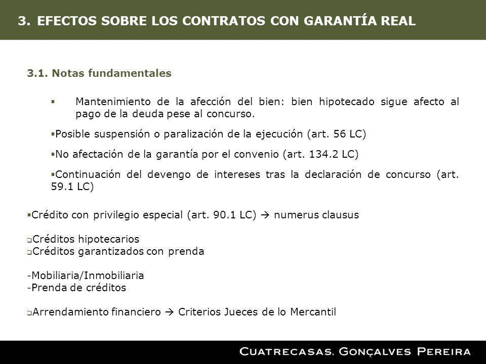 3.EFECTOS SOBRE LOS CONTRATOS CON GARANTÍA REAL 3.1. Notas fundamentales Mantenimiento de la afección del bien: bien hipotecado sigue afecto al pago d