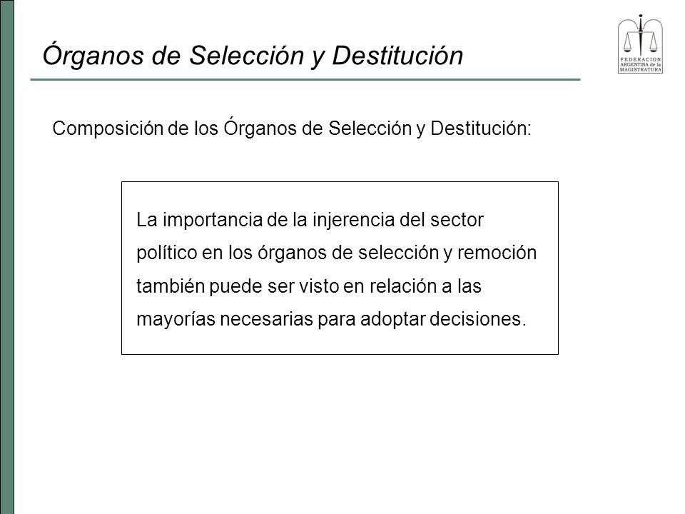 Órganos de Selección y Destitución La importancia de la injerencia del sector político en los órganos de selección y remoción también puede ser visto