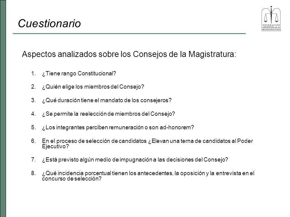 Cuestionario En el 83 % de las provincias, el Consejo de la Magistratura está regulado dentro de su Carta Magna Provincial.