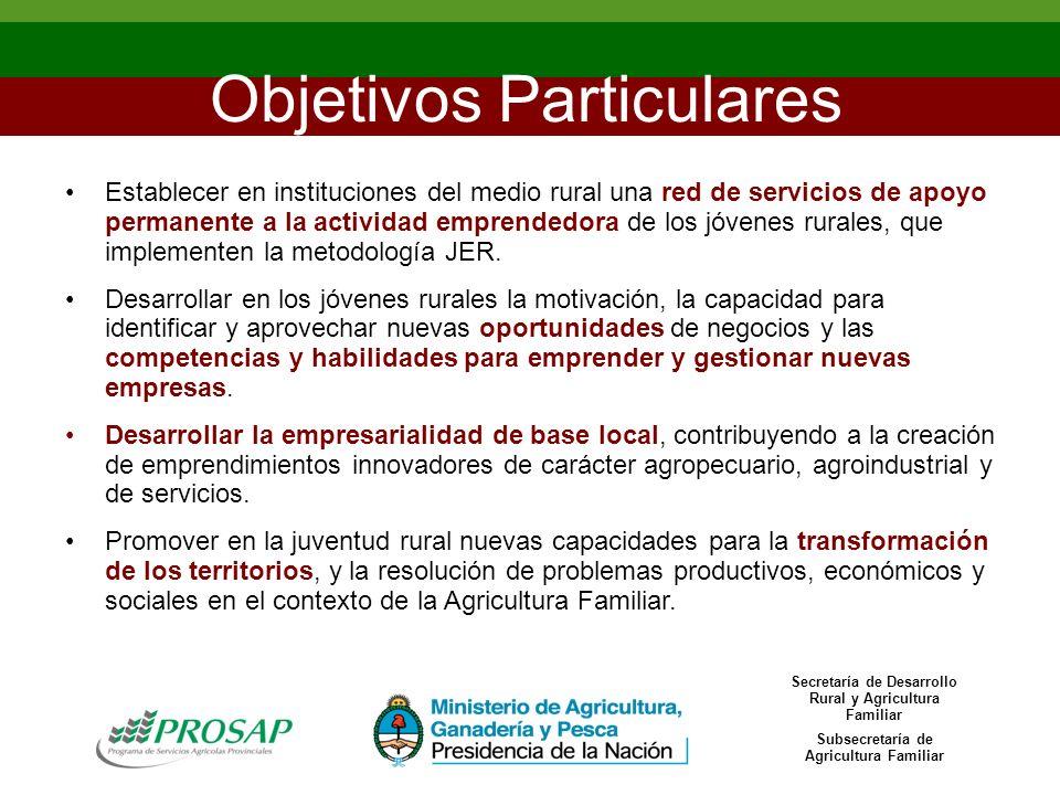 Objetivos Particulares Establecer en instituciones del medio rural una red de servicios de apoyo permanente a la actividad emprendedora de los jóvenes rurales, que implementen la metodología JER.