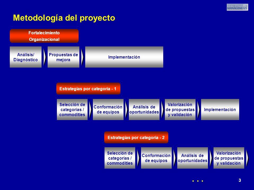 3 3 3 Metodología del proyecto Análisis/ Diagnóstico Propuestas de mejora Implementación Selección de categorías / commodities Análisis de oportunidades Valorización de propuestas y validación Implementación Conformación de equipos Selección de categorías / commodities Análisis de oportunidades Valorización de propuestas y validación Conformación de equipos Fortalecimiento Organizacional Estrategias por categoría - 1 Estrategias por categoría - 2...