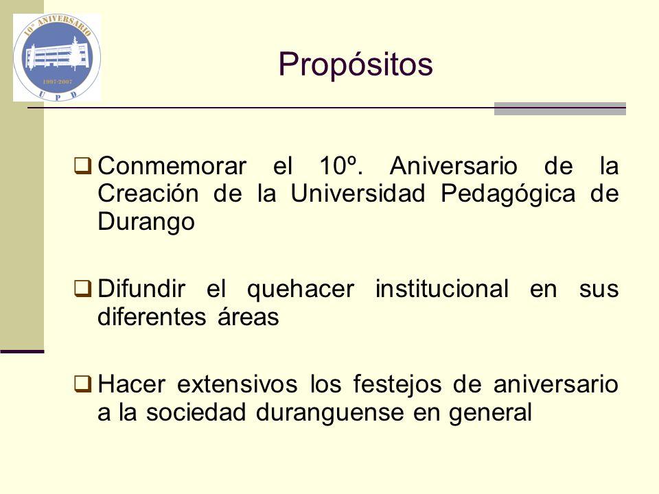 Propósitos Conmemorar el 10º. Aniversario de la Creación de la Universidad Pedagógica de Durango Difundir el quehacer institucional en sus diferentes
