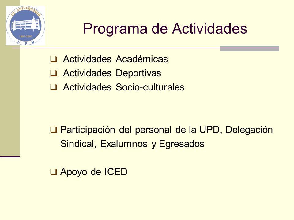 Programa de Actividades Actividades Académicas Actividades Deportivas Actividades Socio-culturales Participación del personal de la UPD, Delegación Si