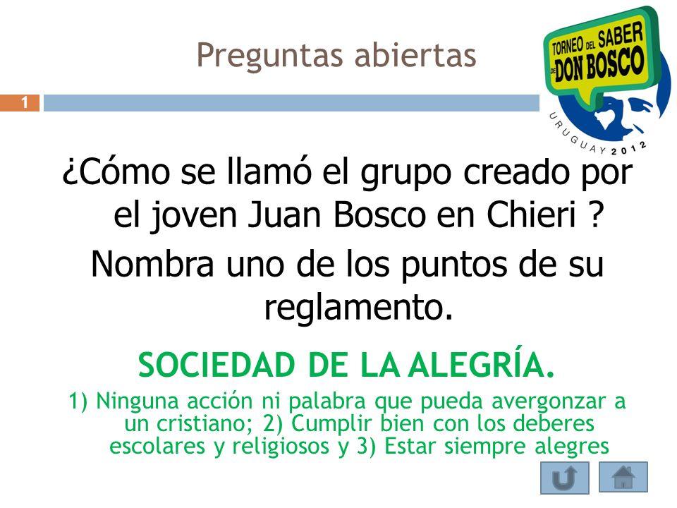 ¿Cómo se llamó el grupo creado por el joven Juan Bosco en Chieri ? Nombra uno de los puntos de su reglamento. SOCIEDAD DE LA ALEGRÍA. 1) Ninguna acció
