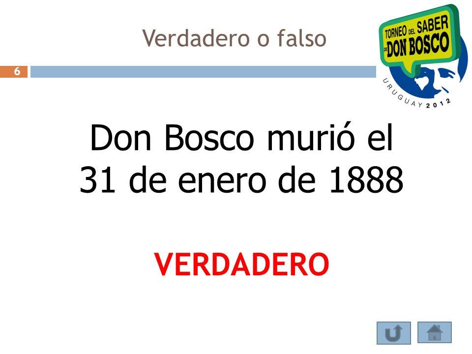 Verdadero o falso En 1846 Don Bosco debió retirarse 3 meses a la casa de su madre por una grave enfermedad.