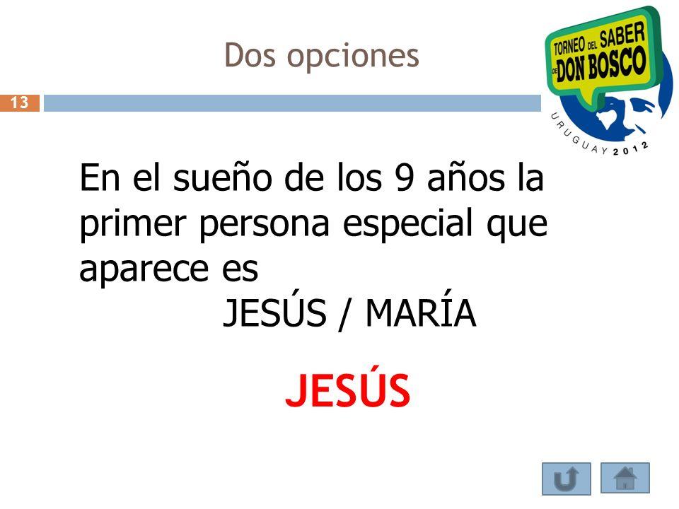 Dos opciones En el sueño de los 9 años la primer persona especial que aparece es JESÚS / MARÍA JESÚS 13