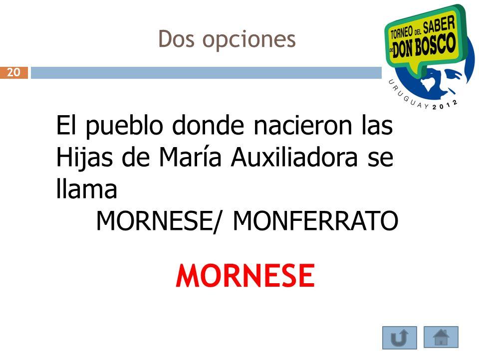 Dos opciones El pueblo donde nacieron las Hijas de María Auxiliadora se llama MORNESE/ MONFERRATO MORNESE 20