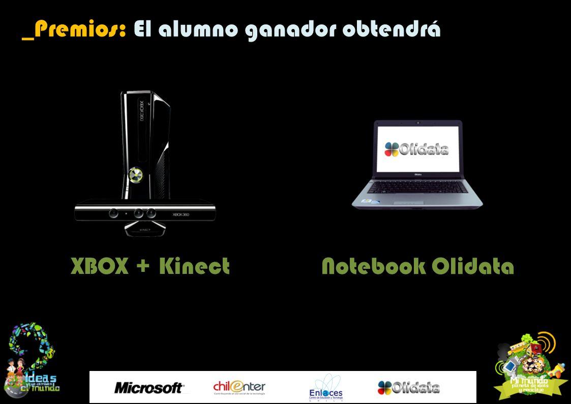 Notebook Olidata _Premios: El alumno ganador obtendrá XBOX + Kinect