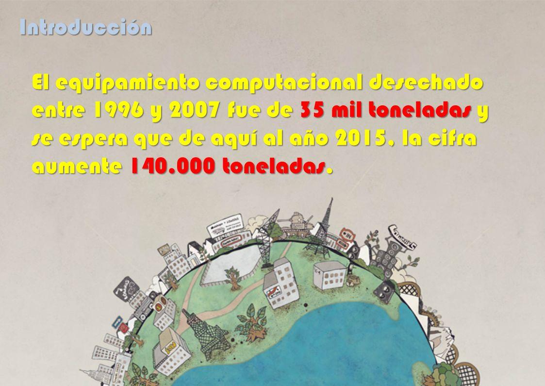 El equipamiento computacional desechado entre 1996 y 2007 fue de 35 mil toneladas y se espera que de aquí al año 2015, la cifra aumente 140.000 tonela