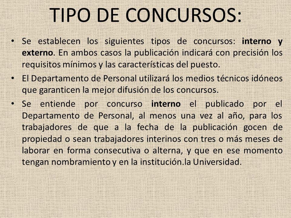 TIPO DE CONCURSOS: Se establecen los siguientes tipos de concursos: interno y externo.