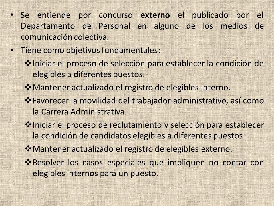 TIPO DE CONCURSOS: Se establecen los siguientes tipos de concursos: interno y externo. En ambos casos la publicación indicará con precisión los requis