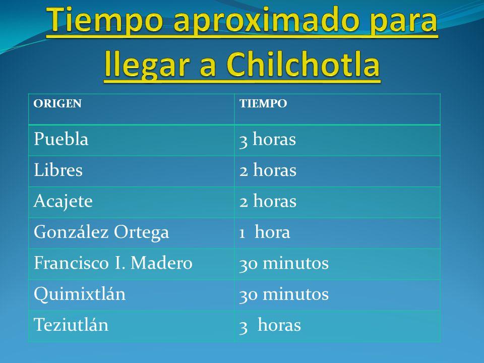 ORIGENTIEMPO Puebla3 horas Libres2 horas Acajete2 horas González Ortega1 hora Francisco I.