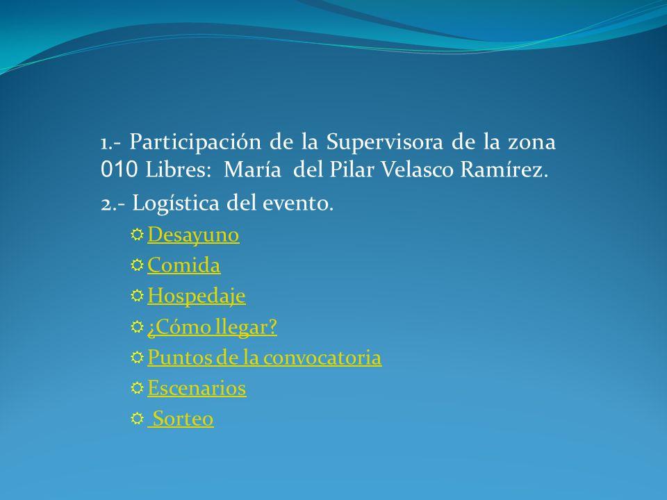 1.- Participación de la Supervisora de la zona 010 Libres: María del Pilar Velasco Ramírez.