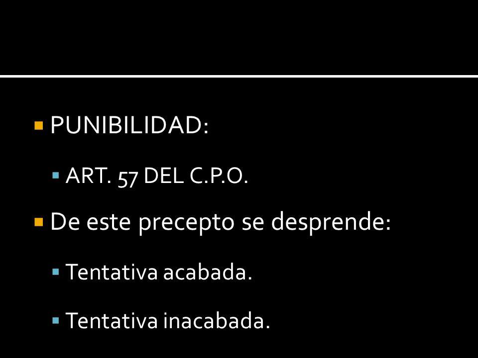 PUNIBILIDAD: ART. 57 DEL C.P.O. De este precepto se desprende: Tentativa acabada. Tentativa inacabada.