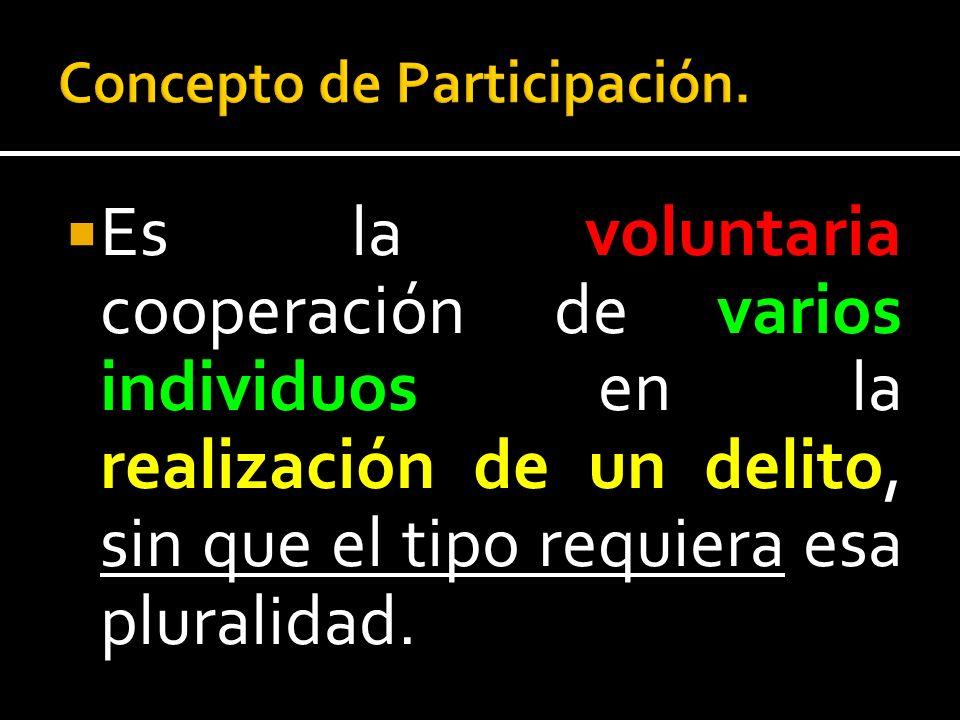 Es la voluntaria cooperación de varios individuos en la realización de un delito, sin que el tipo requiera esa pluralidad.