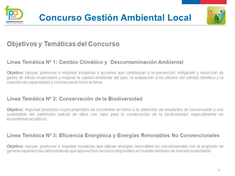 5 Concurso Gestión Ambiental Local Línea Temática Nº 1: Cambio Climático y Descontaminación Ambiental Ámbitos de los proyectos: Uso eficiente de los recursos naturales, especialmente uso recurso leña y gestión de la calidad del aire.