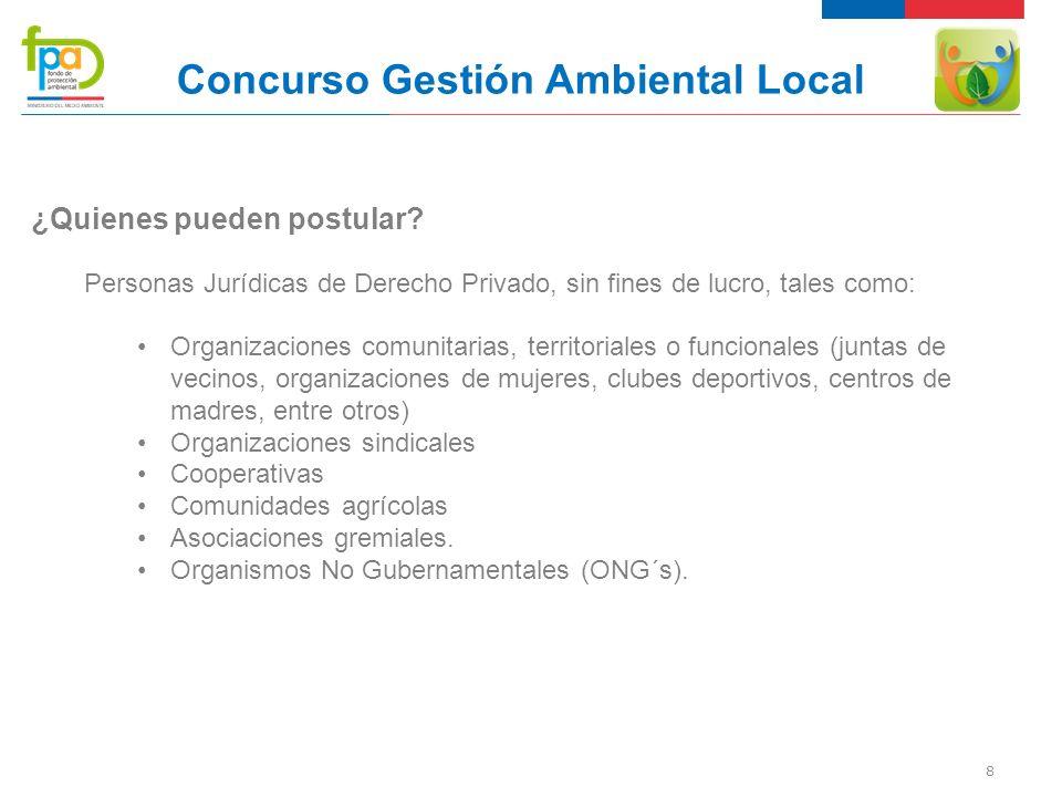 8 Concurso Gestión Ambiental Local ¿Quienes pueden postular.