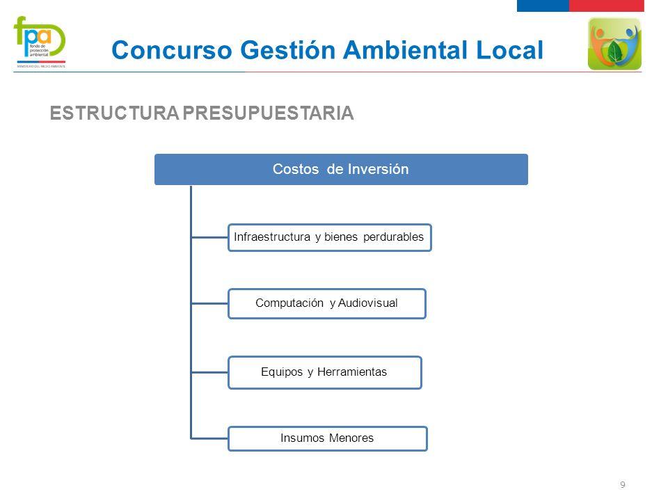 9 Concurso Gestión Ambiental Local ESTRUCTURA PRESUPUESTARIA Costos de Inversión Infraestructura y bienes perdurables Computación y Audiovisual Equipos y Herramientas Insumos Menores