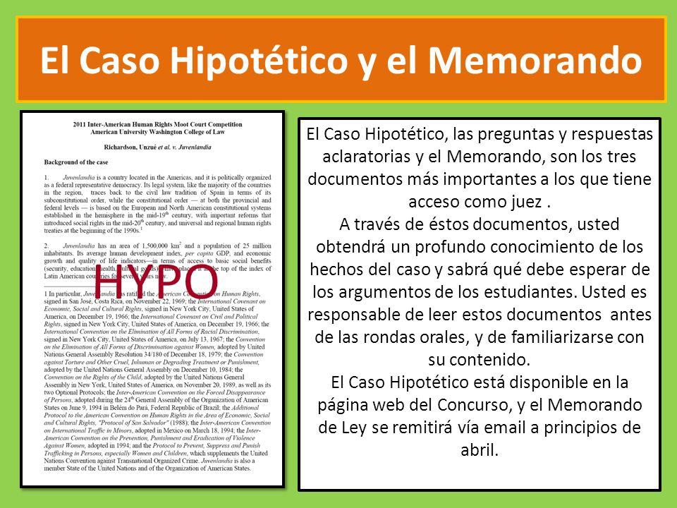 El Caso Hipotético y el Memorando El Caso Hipotético, las preguntas y respuestas aclaratorias y el Memorando, son los tres documentos más importantes a los que tiene acceso como juez.