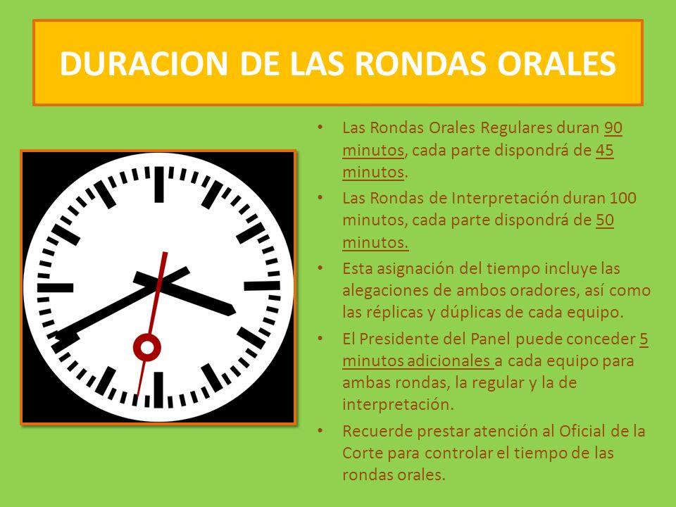 DURACION DE LAS RONDAS ORALES Las Rondas Orales Regulares duran 90 minutos, cada parte dispondrá de 45 minutos.