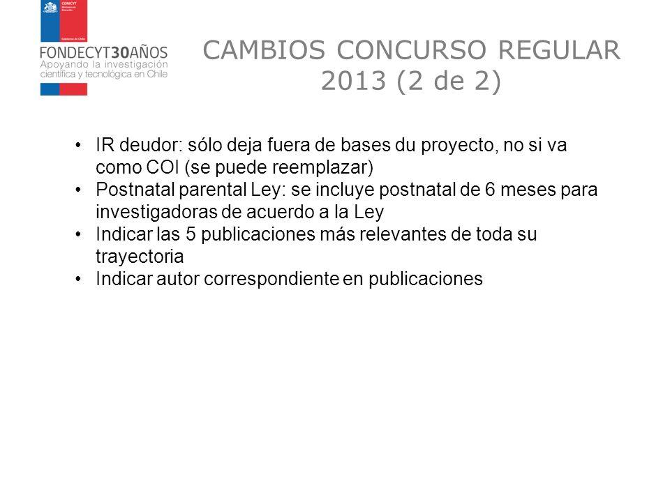 CAMBIOS CONCURSO REGULAR 2013 (2 de 2) IR deudor: sólo deja fuera de bases du proyecto, no si va como COI (se puede reemplazar) Postnatal parental Ley