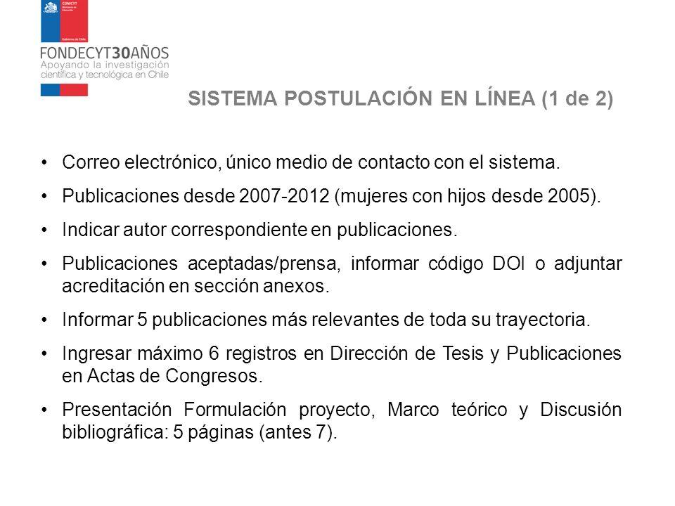 SISTEMA POSTULACIÓN EN LÍNEA (1 de 2) Correo electrónico, único medio de contacto con el sistema. Publicaciones desde 2007-2012 (mujeres con hijos des