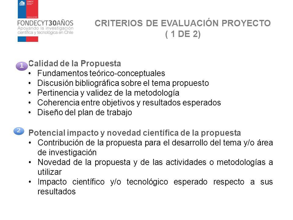 CRITERIOS DE EVALUACIÓN PROYECTO ( 1 DE 2) Calidad de la Propuesta Fundamentos teórico-conceptuales Discusión bibliográfica sobre el tema propuesto Pe