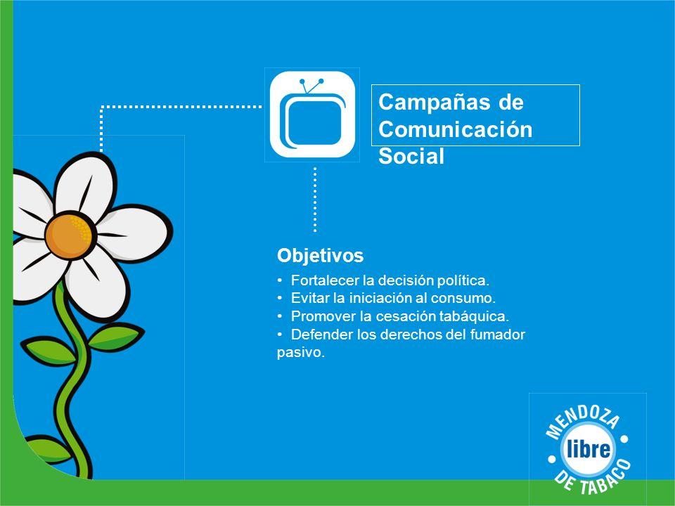 Campañas de Comunicación Social Objetivos Fortalecer la decisión política. Evitar la iniciación al consumo. Promover la cesación tabáquica. Defender l