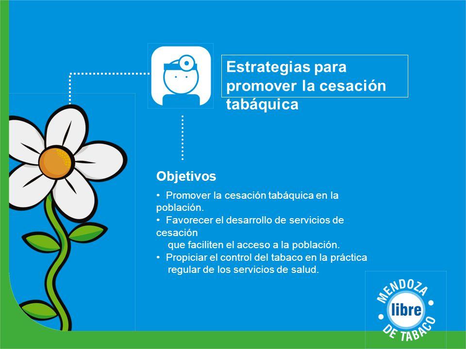 Estrategias para promover la cesación tabáquica Objetivos Promover la cesación tabáquica en la población. Favorecer el desarrollo de servicios de cesa