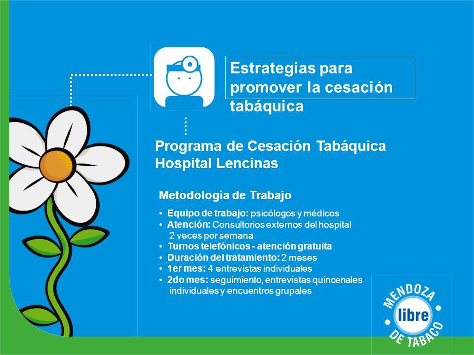 Estrategias para promover la cesación tabáquica Metodología de Trabajo Programa de Cesación Tabáquica Hospital Lencinas Equipo de trabajo: psicólogos