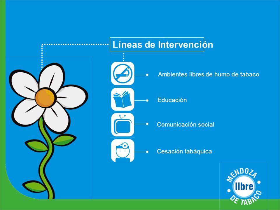 Líneas de Intervención Ambientes libres de humo de tabaco Educación Comunicación social Cesación tabáquica