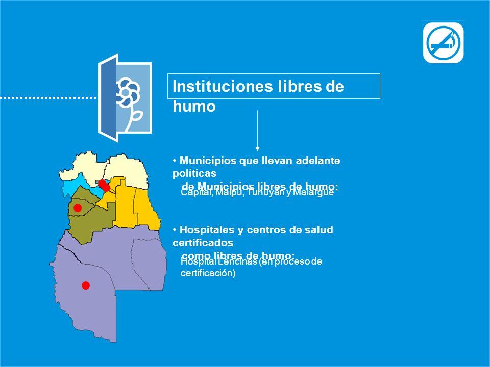 Instituciones libres de humo Municipios que llevan adelante políticas de Municipios libres de humo: Capital, Maipú, Tunuyán y Malargüe Hospitales y ce