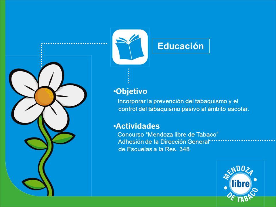 Educación Objetivo Incorporar la prevención del tabaquismo y el control del tabaquismo pasivo al ámbito escolar. Actividades Concurso Mendoza libre de